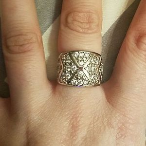 Size 7 925 Stamped SS & W. Sapphire Ring